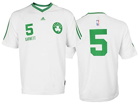 sports shoes 0b688 3d55e adidas Boston Celtics Kevin Garnett #5 NBA Mens Short Sleeve Shooting  Shirt, White