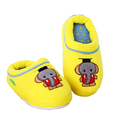 Blubi Toddler Little Kid Cotton Lined Cartoon Elephant Childrens Slippers Indoor Slippers (10 M, Yellow)