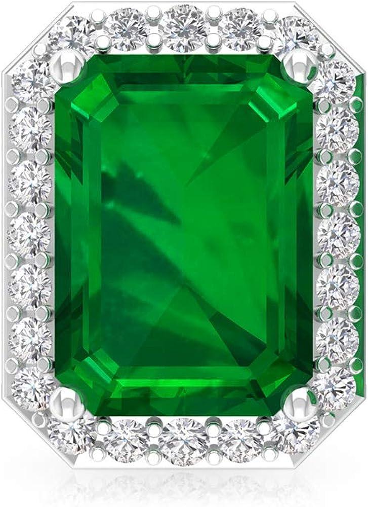 Pendiente de esmeralda de 1,8 ct creado en laboratorio, forma octogonal de piedra preciosa, certificado IGI, pendientes de boda de diamantes, IJ-SI, 18K Oro blanco, Única pieza