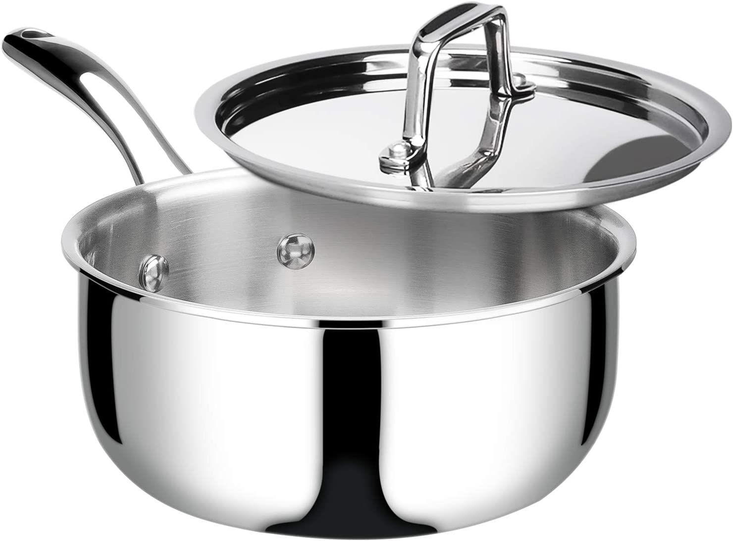 1.6-Quart Duxtop Whole-Clad Tri-Ply Stainless Steel Induction Ready Premium Cookware with Lid
