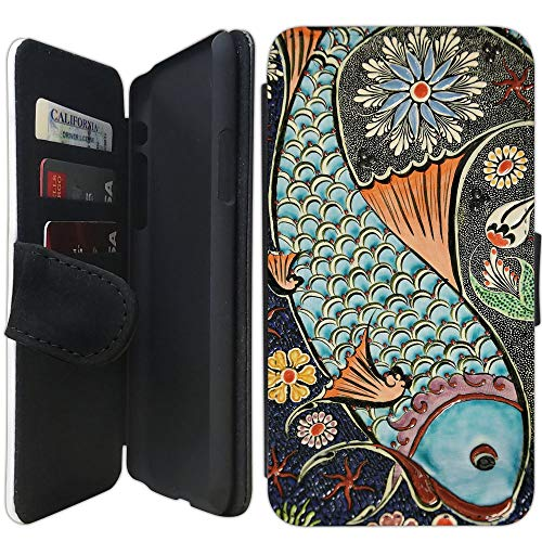 Flip Wallet Case Compatible with iPhone XR (Mosaic Colorful Koi Fish) with Adjustable Stand and 3 Card Holders | Shock Protection | Lightweight | Includes Free Stylus Pen by Innosub