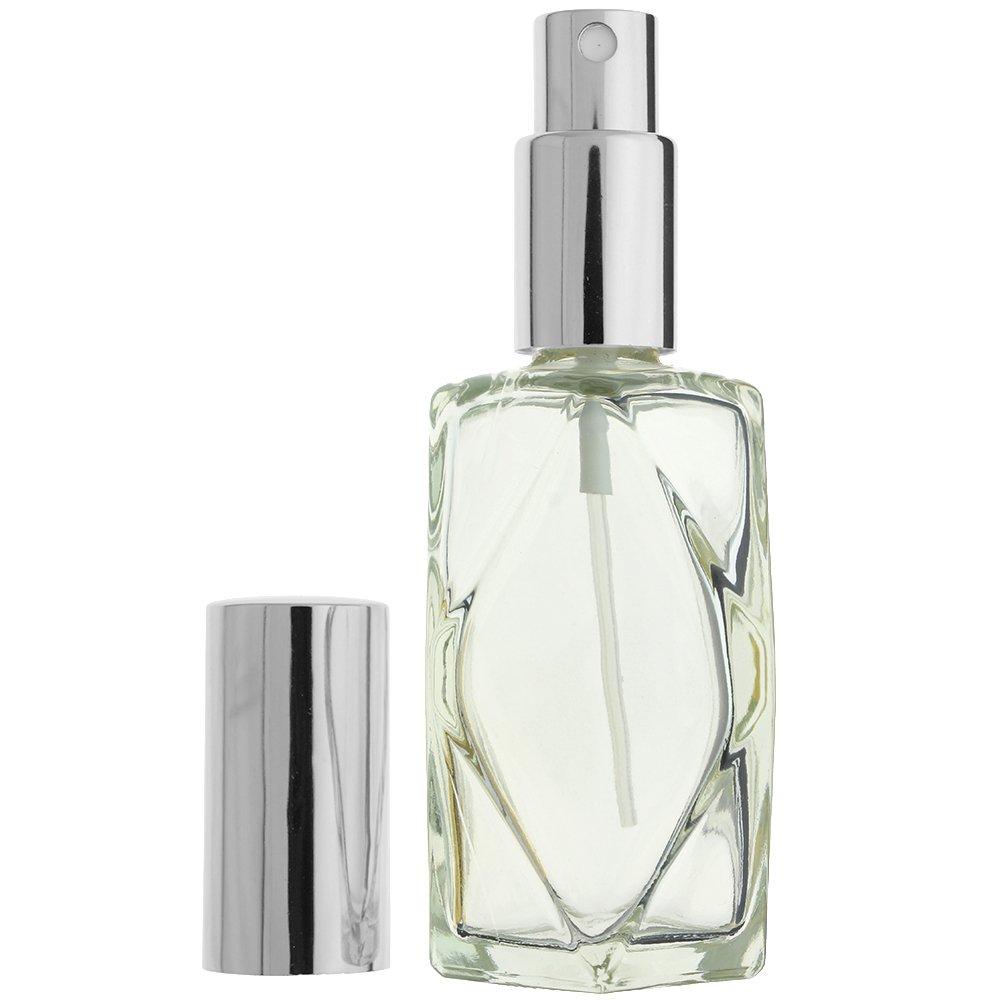 12-PIECE 2 OZ 60 ML DIAMOND CUT EMPTY REFILLABLE GLASS BOTTLE WITH FINE MIST SILVER SPRAYER Perfume Fragrance Cologne Essential Oil Atomizer