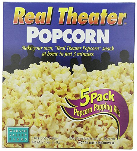 - Wabash Valley Farms Real Theater Complete Popcorn Popping Kit - Perfect Popcorn in 3 Minutes for Family Movie Night and More, Makes a Great Gift - 5-Count Kit (Pack of 5)