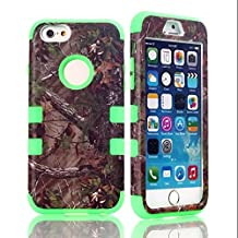 """iPhone 6S Case, MIMICat Hunter Tree Camouflage Camo Hybrid Hard Soft Case Cover for Iphone 6 / Iphone 6s (4.7"""") (Green)"""