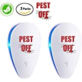PEST OFF Ultrasonic Pest Repeller - 2 Pack Electronic Plug In Pest Control - Insects Repellent - Repels Mice, Bed Bugs, Mosquitoes, Spiders, Non-toxic Eco-Friendly, Human & Pet Safe