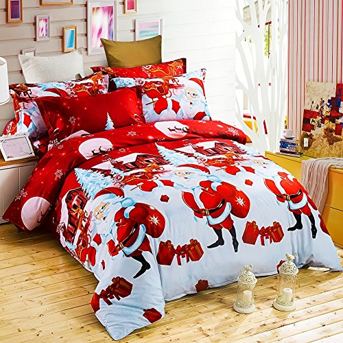 Christmas Bedding Set with 3D Printed Santa Claus and Elk (New Year Present)-3Pcs-Duvet Cover and 2 Pillowcases (Queen, Red)
