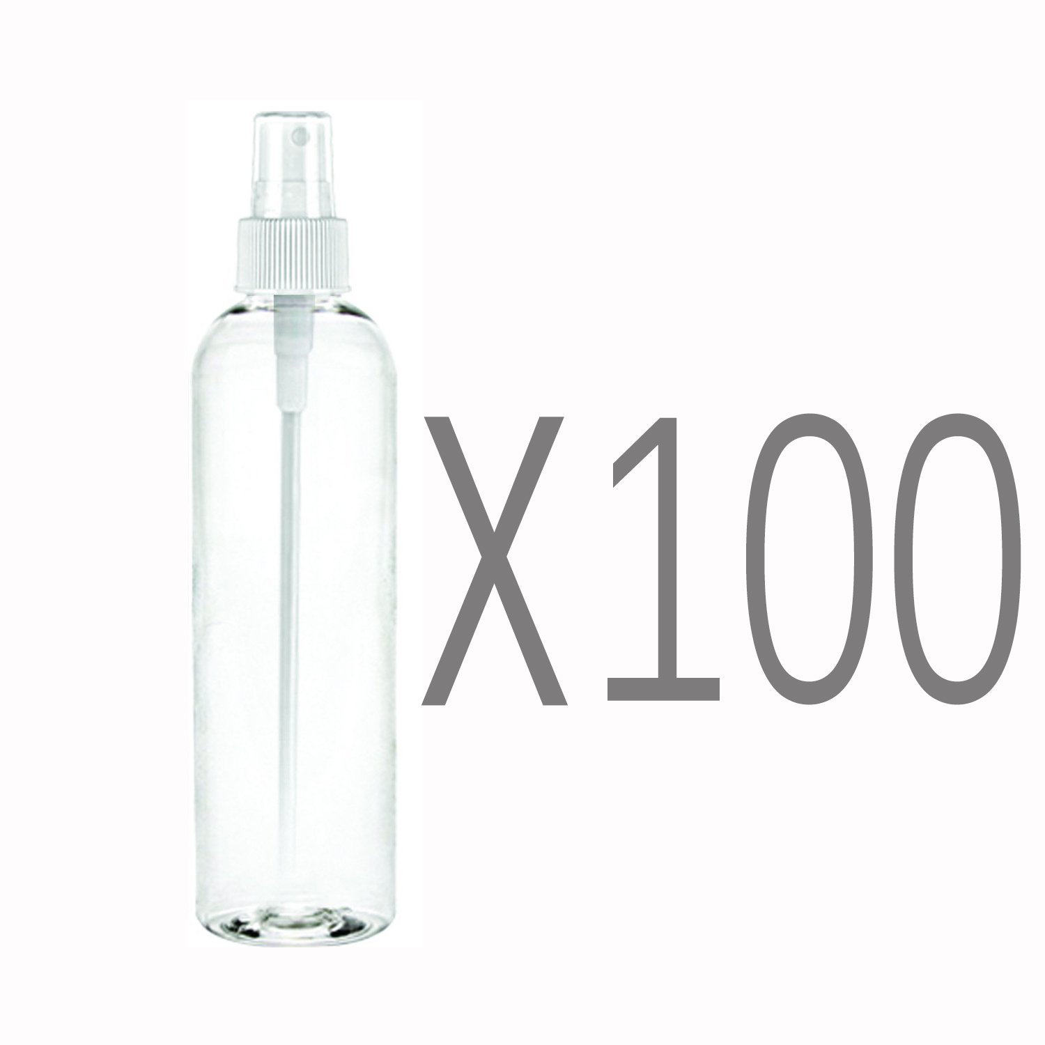 MoYo Natural Labs 4 oz Spray Bottles Fine Mist Empty Travel Containers, BPA Free PET Plastic for Essential Oils and Liquids/Cosmetics (Neck 20-410) (Pack of 100, Clear) by MoYo Natural Labs