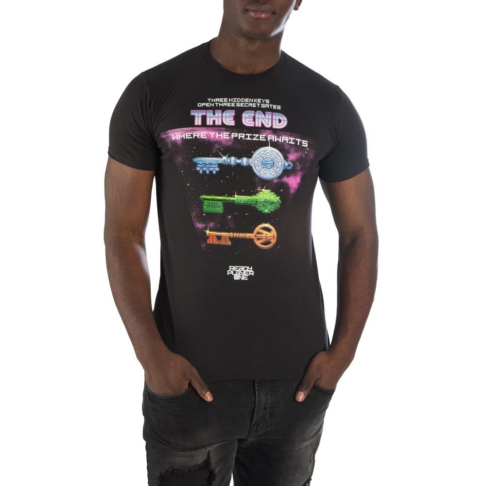 Ready Player One Storyline with Keys T-Shirt, Cotton Soft Black with Epic Adventure Quest-Medium