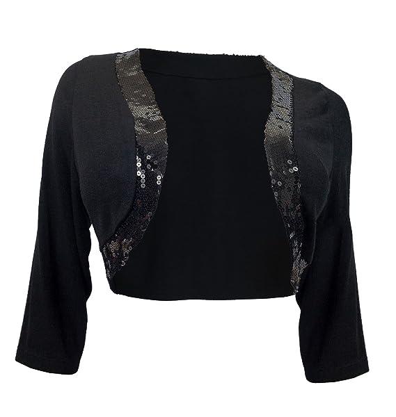 de8d47288a12c eVogues Women s Sequin Trim 3 4 Sleeve Cropped Bolero Shrug Black - 1X
