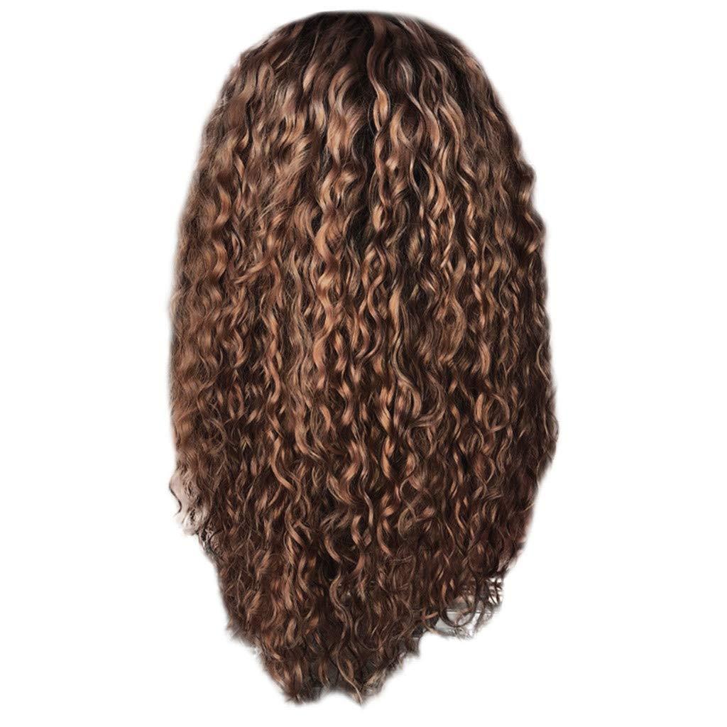 Sonmer Women Fashion Afro Long Kinky Curly Brown Wavy Wigs,25.6inch