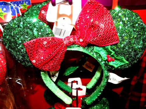 amazoncom disney world park exclusive new christmas 2013 red green sequinned minnie mouse ears headband holiday hat christmas decor beauty
