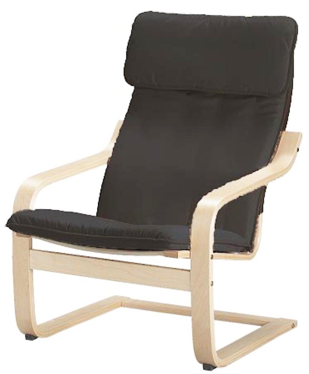 The Cotton Poang Chair Cover Replacement is Custom Made for Ikea Poang Armchair Slipcover Only. (Dark Gray Cotton)