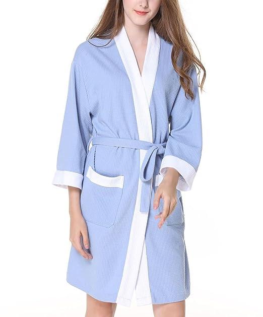 Pijamas de Algodón Waffel de Manga Larga para Mujeres Elegantes Pijamas de Dormir Camisón Batas de Baño Suelto de Gran Tamaño Suave: Amazon.es: Ropa y ...