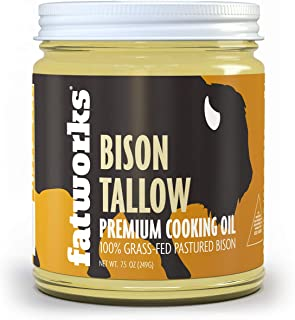 product image for Fatworks Grass Fed Pasture Raised Buffalo-Bison Tallow, rendered from 100% Grass Fed & Grass Finished American Bison, Premium Cooking Oil, Keto, Paleo, WAP, WHOLE30, 7.5 oz.