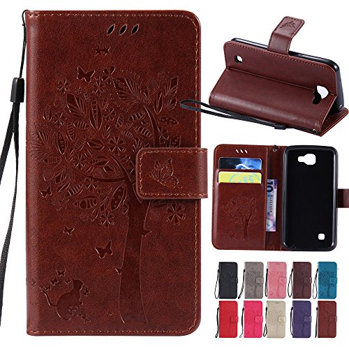 Price comparison product image LG Optimus Zone 3 / LG Rebel 4G LTE / LG K4 VS425 / LG Spree Case,, BestAlice Tree Cat Butterfly PU Leather Fold Wallet Stand Pouch Magnetic Wrist Strap Case Skin Cover , Coffee