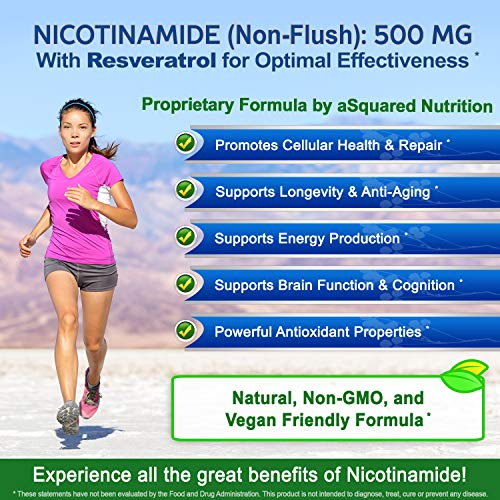 61TXvMId9GL - Nicotinamide with Resveratrol - NAD+ Booster (120 Veggie Capsules) - Vitamin B3 500mg (Niacinamide Flush Free) - Supplement Pills to Support NAD, Anti Aging DNA Repair, Skin Cell Health & Energy