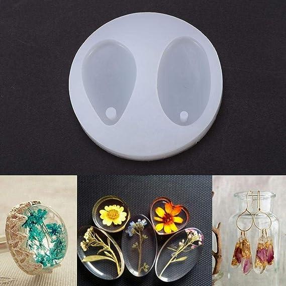 2 en 1 Oval molde de silicona con agujero, DIY resina colgante joyería Making molde para hecho a mano DIY Craft: Amazon.es: Hogar