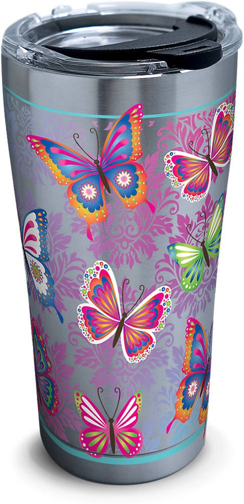 Tervis 1277891 Butterfly Motif Stainless Steel Tumbler with Clear and Black Hammer Lid 20oz, Silver