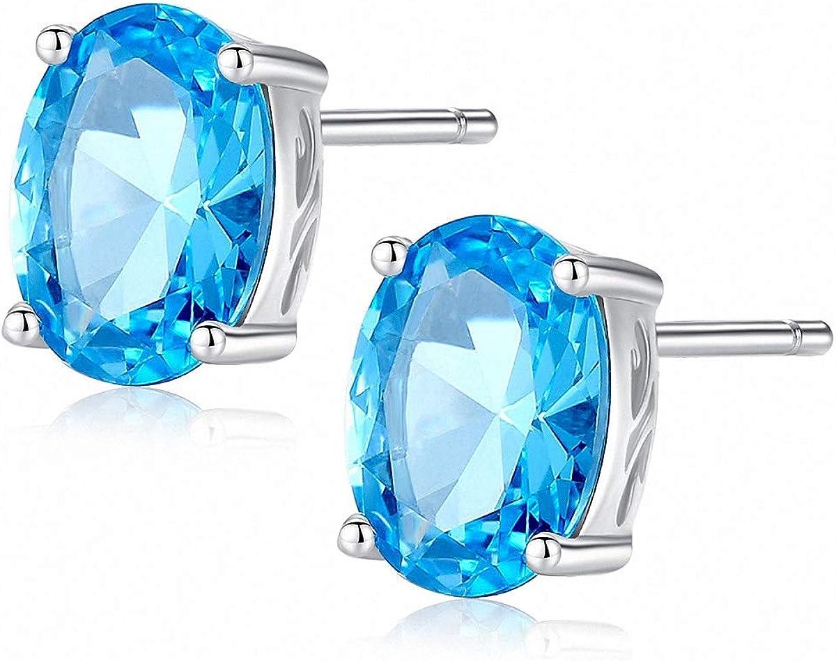 ESBERRY S925 Pendientes de plata de ley con estilo, cubiertos con topacio azul celeste, piedras preciosas, joyas únicas, regalo para mujeres