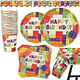82 Piece Building Blocks Party Supplies Set Including Banner, Plates, Cups, Napkins, and Tablecloth, Serves 20