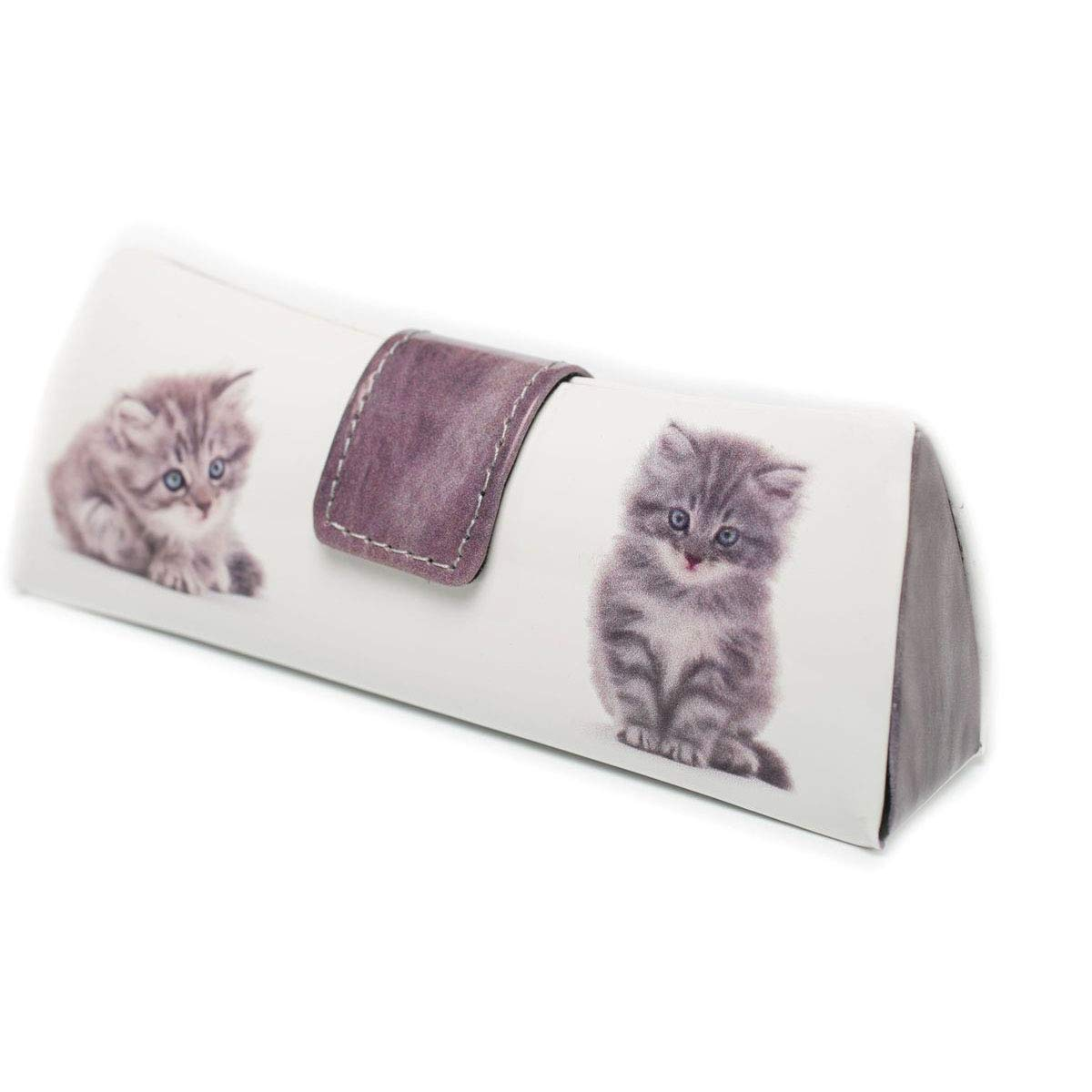 Handmade Russian Glasses case white with a color print, on a solid basis, covered with artificial leather by RuPost
