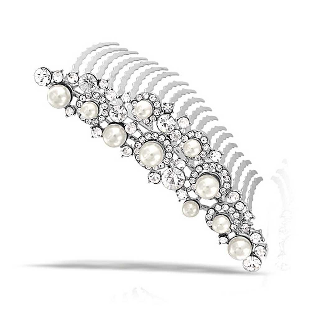 Simulated Pearl Rhinestone Bridal Tiara Comb Rhodium Plated Bling Jewelry DTR-70919WH-S