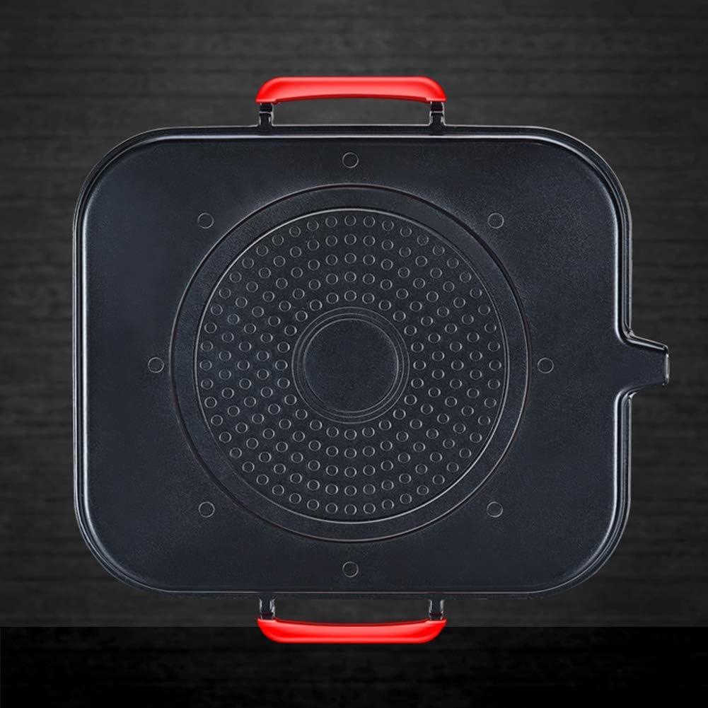 Plaque à griller viande carré revêtement antiadhésif pour plaques à induction, gaz et électriques avec poignée anti-brûlante pour ménage et pique-nique,Noir Black