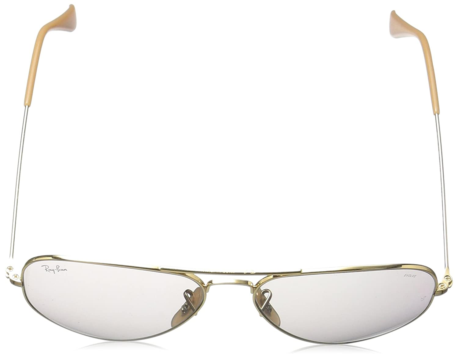 7595755aac Amazon.com  Ray-Ban Aviator Evolve RB3025-9064V8 Sunglasses Gold w Grey  Photochromic Lens 58mm  Clothing