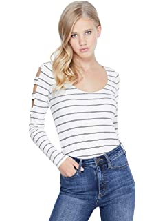 fc626e204b94f2 G by GUESS Women s Britta Long-Sleeve Cold-Shoulder Cutout Top at ...