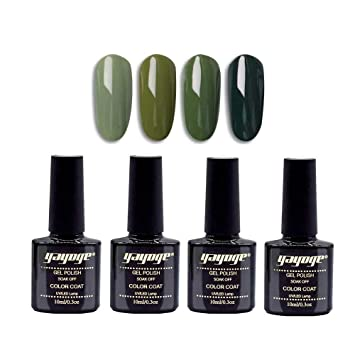 Yayoge Gel Nail Polish Set Olive Green Series 4 Pcs 10ml 4 Colors Soak Off Uv Led Gel Nail Polish Kit For