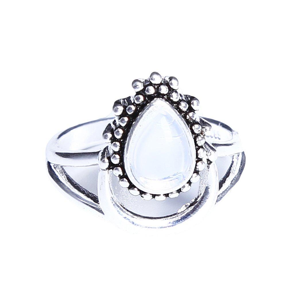 Meolin Crescent Moon Ring Rainbow Moonstone Ring,Zinc Alloy,Size10