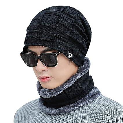 41e24b2dcad Vovomay Adult Women Men Winter Earmuffs Knit Hat -Solid Color Scarf Warm Cap  (Black