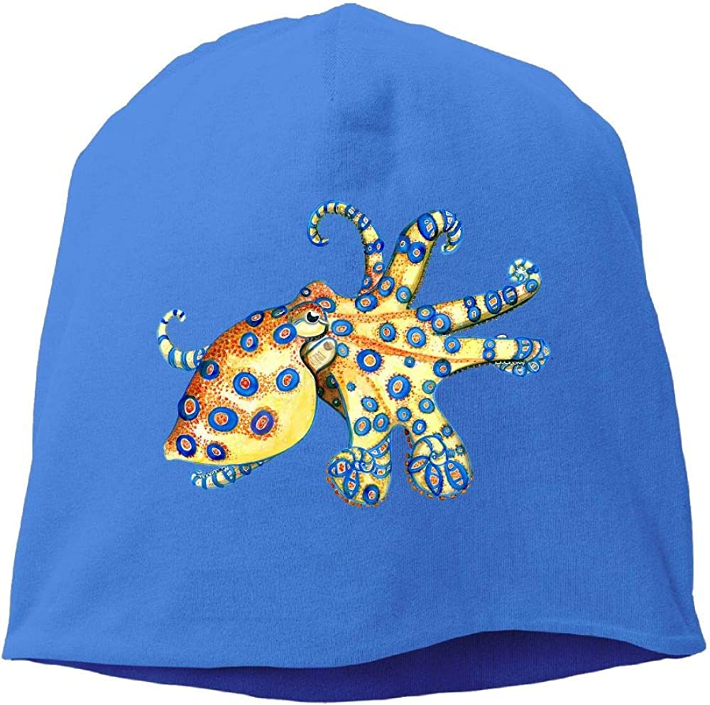 Janeither Headscarf Blue Ring Octopus Hip-Hop Knitted Hat for Mens Womens Fashion Beanie Cap