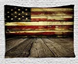 Ambesonne United States Tapestry, Vintage American Flag on Wooden Planks Wall Background Grunge Print, Wall Hanging for Bedroom Living Room Dorm, 80 W X 60 L Inches, Umber Cream Red Blue