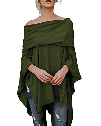 11664a55710510 Kenoce Women Off Shoulder Pullover Irregular Hem Soft Knitted Poncho  Sweater Pullovers Top Army Green S