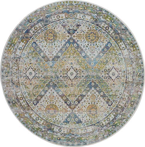 Nourison Global Vintage Blue and Green Farmhouse Area Rug 6' x 6' ROUND