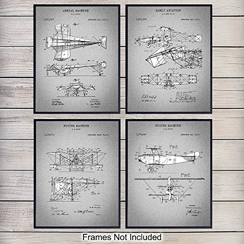 - Early Aviation Airplanes Patent Art Prints, Vintage Wall Art Poster Set, Chic Rustic Home Decor for Living Room, Family Room, Man Cave, Bedroom, Gift for Pilots, Flight Attendants, 8x10 Photo Unframed