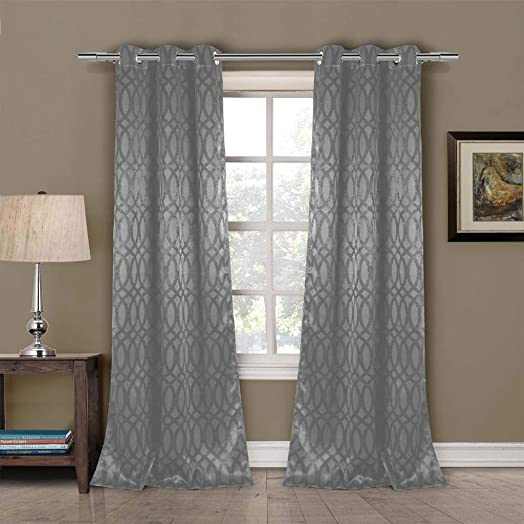 Duck River Textiles – Tayla Trellis Pattern Linen Textured Blackout Room Darkening Grommet Top Window Curtains Pair Panel Drapes for Bedroom, Living Room – Set of 2 Panels – 36 X 84 Inch – Grey