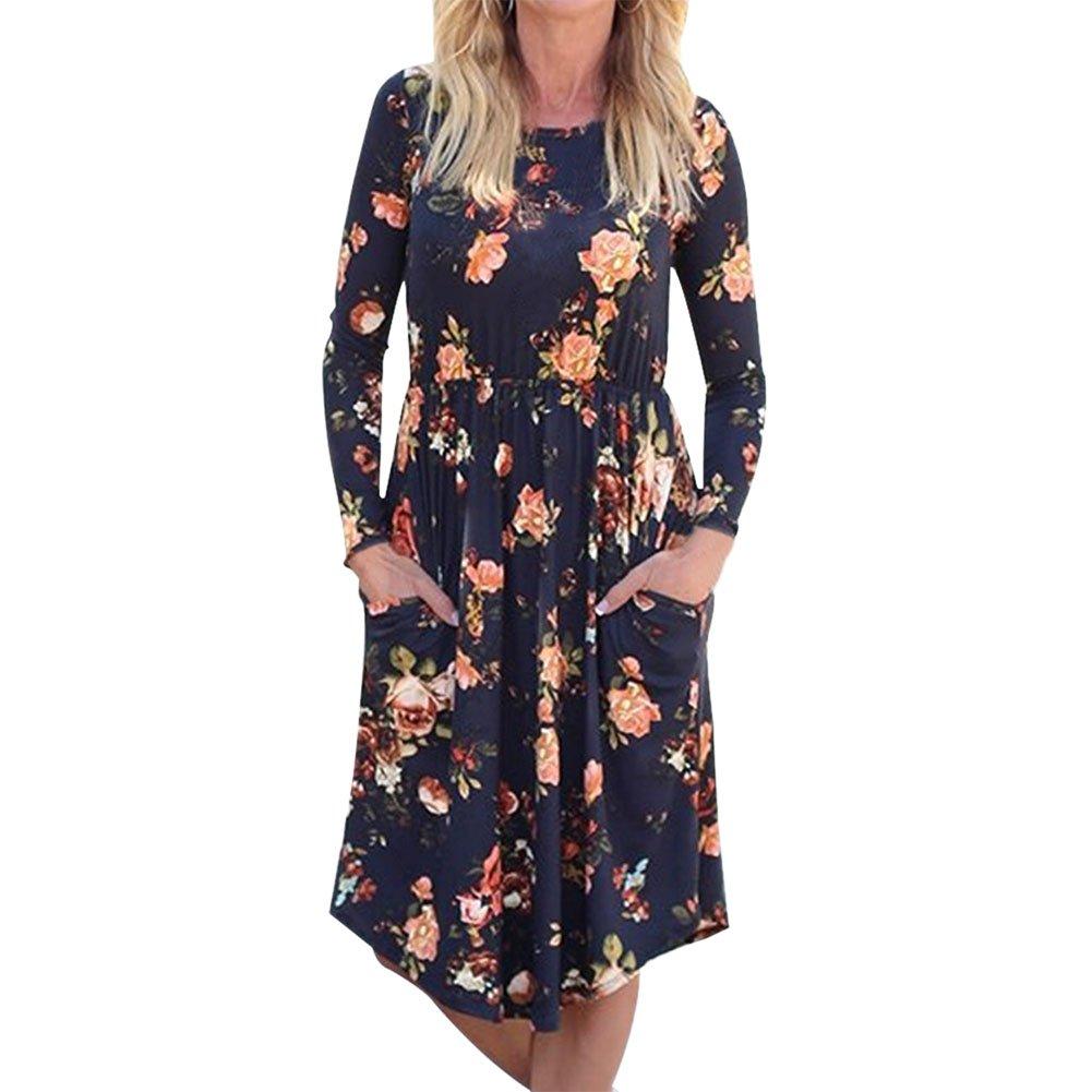 Petalum Damen Lang Kleid Blumendruck Langarm Rundhals Taille Kleid Casual Blumenmuster Maxikleid Strandkleid Herbst Freizeit T Shirt Kleid Taschen