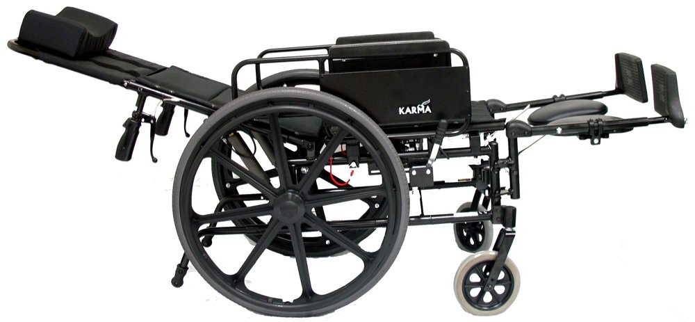 Karman Healthcare KM5000F22 Aluminum Lightweight Reclining Wheelchair, Black, 24 Inches Rear Wheels and 22 Inches Seat Width
