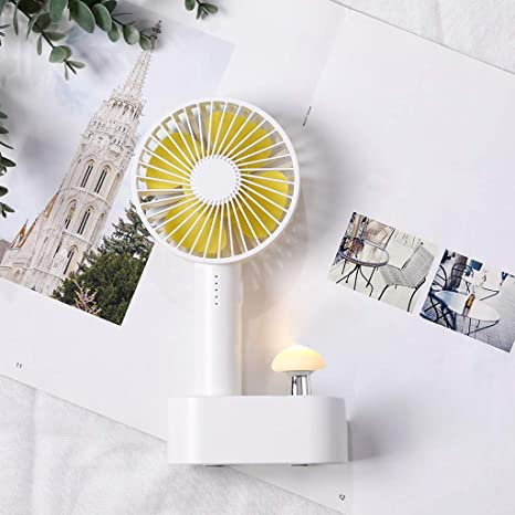 Amazon.com: Sllve-hive Portable Mini Mushroom Lamp Handheld Fan with Base Containing Built-in 2000mAh Mobile Power and Base Colorful Lights Rechargeable Fan ...