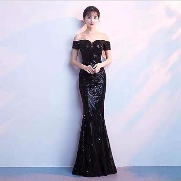 WBXAZL El Vestido de Noche es Elegante y Elegante,Black,S