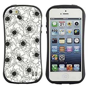 "Hypernova Slim Fit Dual Barniz Protector Caso Case Funda Para Apple iPhone SE / iPhone 5 / iPhone 5S [Blanca Flor Negro Art Dibujo""]"