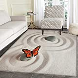 Butterfly Rugs for Bedroom Zen Rock on the Sand Butterfly Serenity Life Cycle Nature Meditation Theme Circle Rugs for Living Room 3'x5' Beige Orange