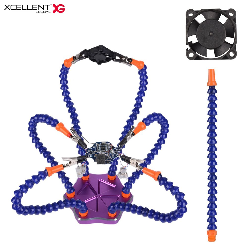 Xcellent Global Helping Hands Soldering Station with USB Fan Third Hand with 7 Flexible Arm Soldering Tool PC037