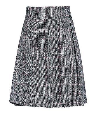 chouyatou Women's Graceful Knee Length A-Line Pleated Midi Plaid Wool Skirt