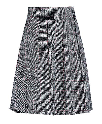 chouyatou Women's Graceful Knee Length A-Line Pleated Midi Plaid Wool Skirt (X-Small, ()