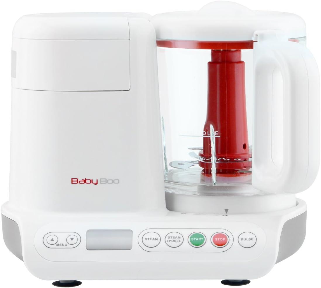 H.Koenig Robot de Cocina para Bebés 2 en 1, Cocción al Vapor y Batidora, 200 W, Capacidad de 950 mL, Blanco BB80, Cristal