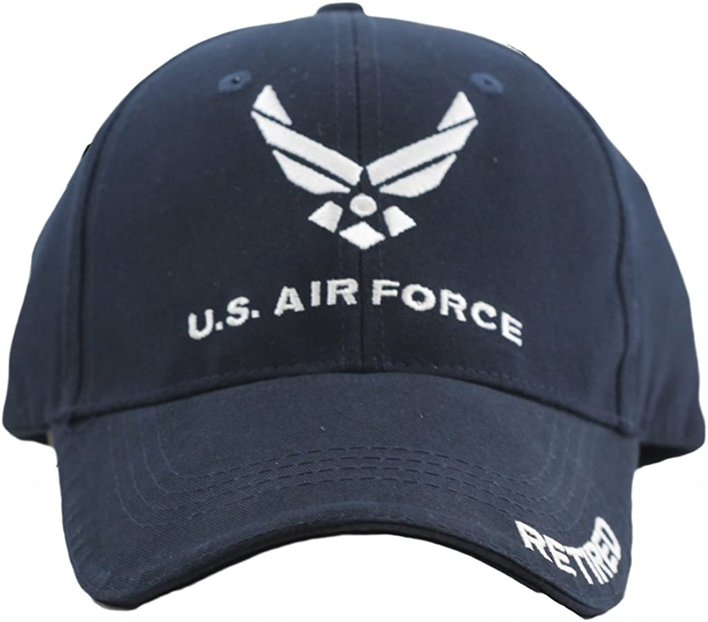 Eagle Crest US Air Force Retired Cap for Men and Women United States Air Force Military Hat, Blue, One Size
