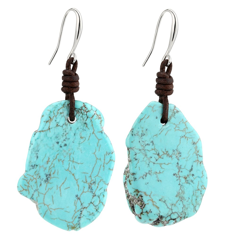 Bohemian Imitation Flat Reconstituted Turquoise Dangle Earrings with Genuine Leather Cord Gypsy Jewelry
